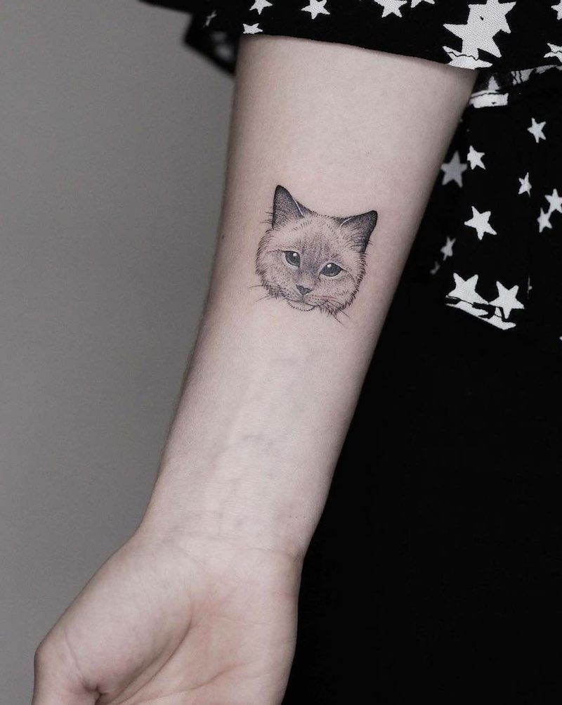 Cat Small Tattoo by Minnie
