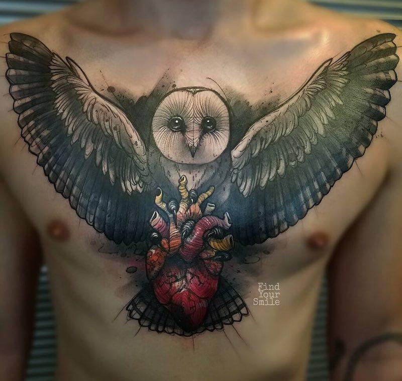 Chest Owl Tattoo by Russell Van Schaick