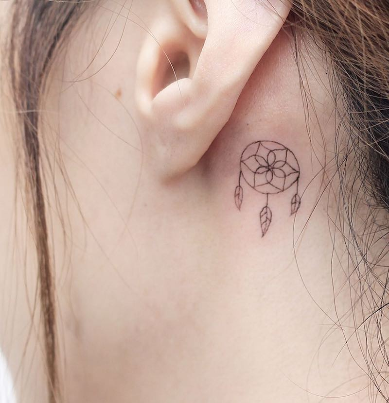 Dreamcatcher Small Tattoo by Hello Tattoo Wing