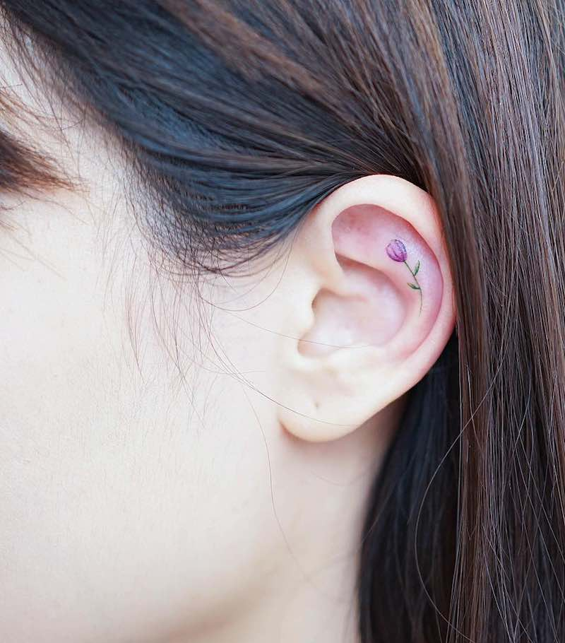 Flower In Ear Small Tattoo by Mini Lau