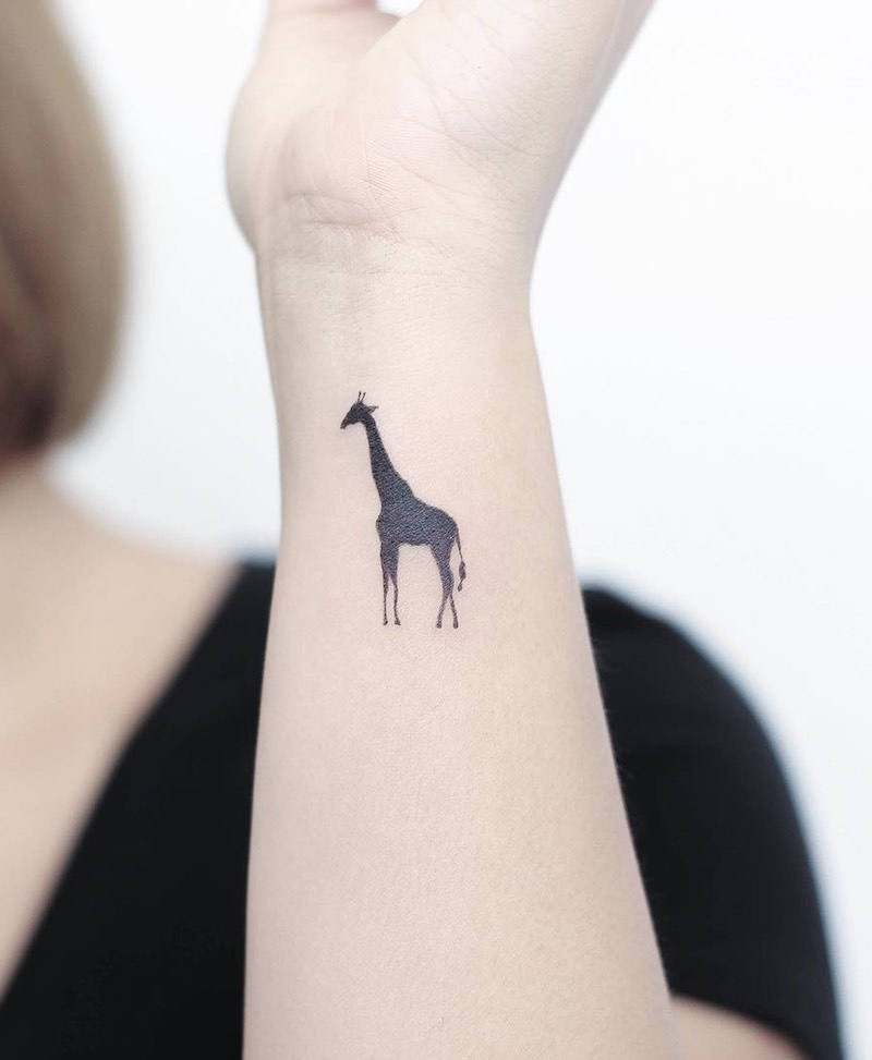 Giraffe Small Tattoo by Hello Tattoo Wing