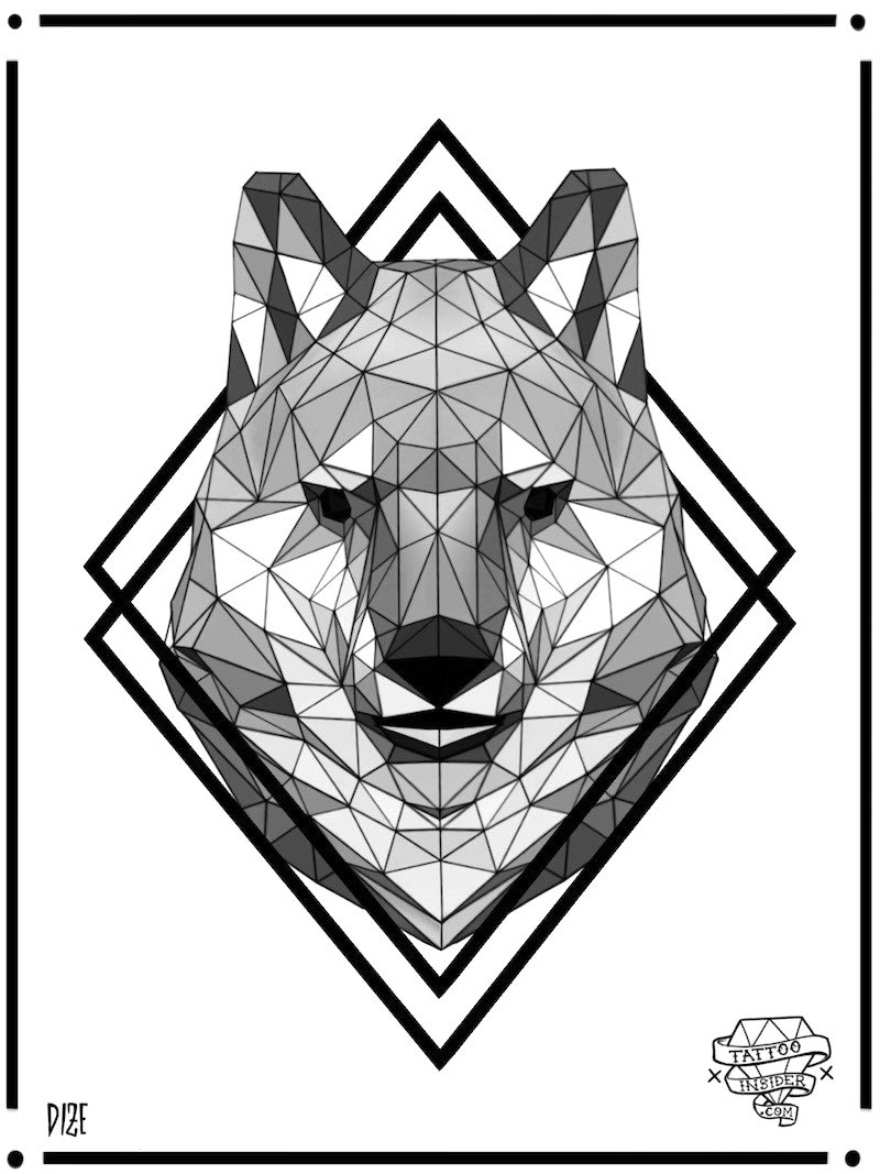 Low Poly Geo Wolf Tattoo Design