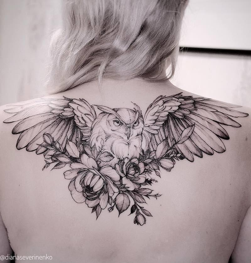 Owl Tattoo by Diana Severinenko