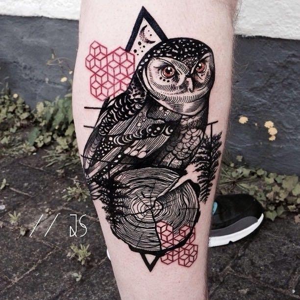 Owl Tattoo by Jessica Svartvit