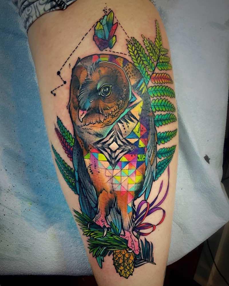 Owl Tattoo by Katie Shocrylas