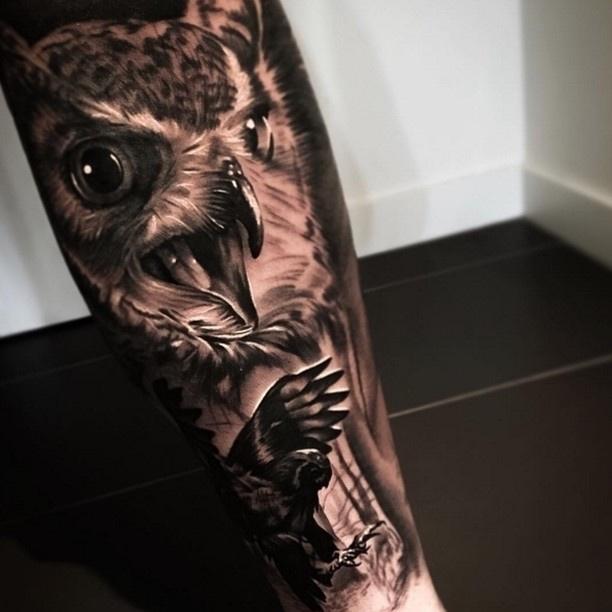 Owl Tattoo by Levi Barnett