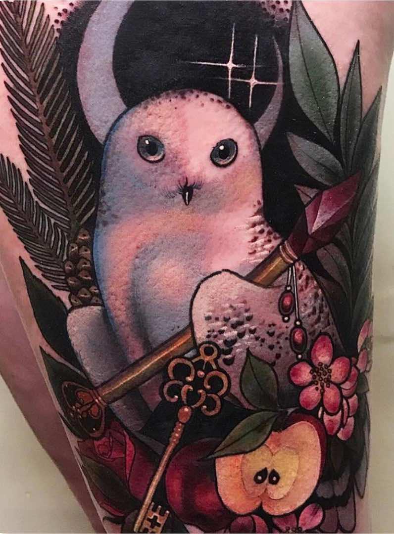 Owl Tattoo by Miryam Lumpini