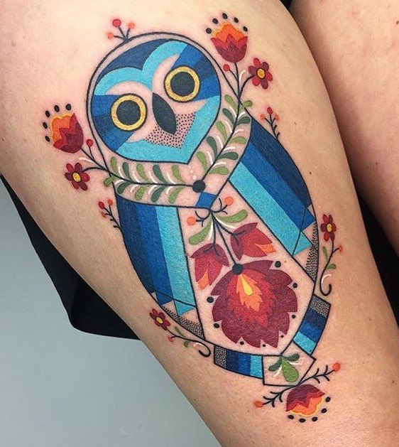 Owl Tattoo by Winston The Whale