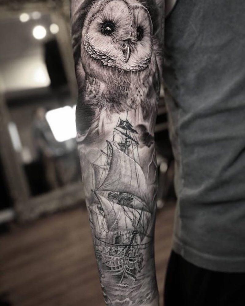Owl and Ship Tattoo by Stefano Alcantara