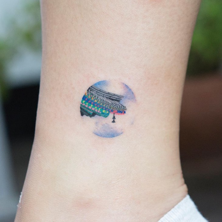 Rooftop Small Tattoo by Zihee Tattoo