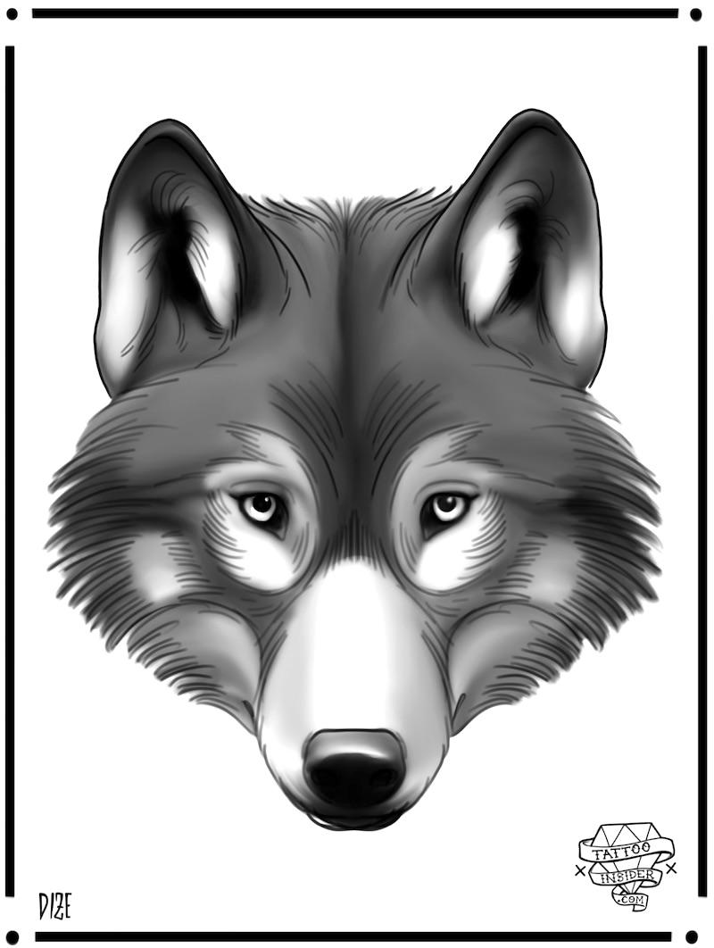 Wolf Tattoo Deisgn Head