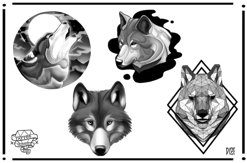 Wolf Tattoo Flash