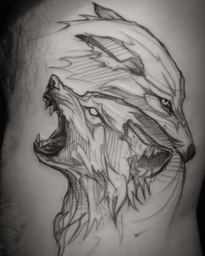 Wolf Tattoo by L'oiseau