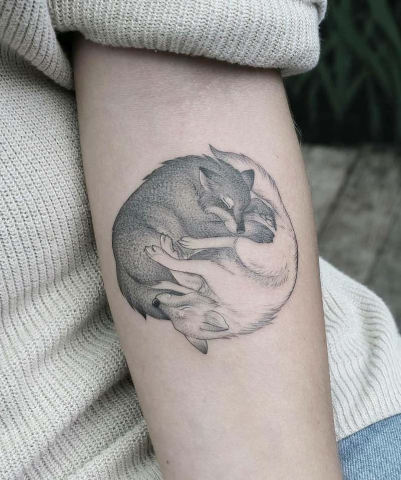 Yin Yang Wolf Tattoo by Minnie