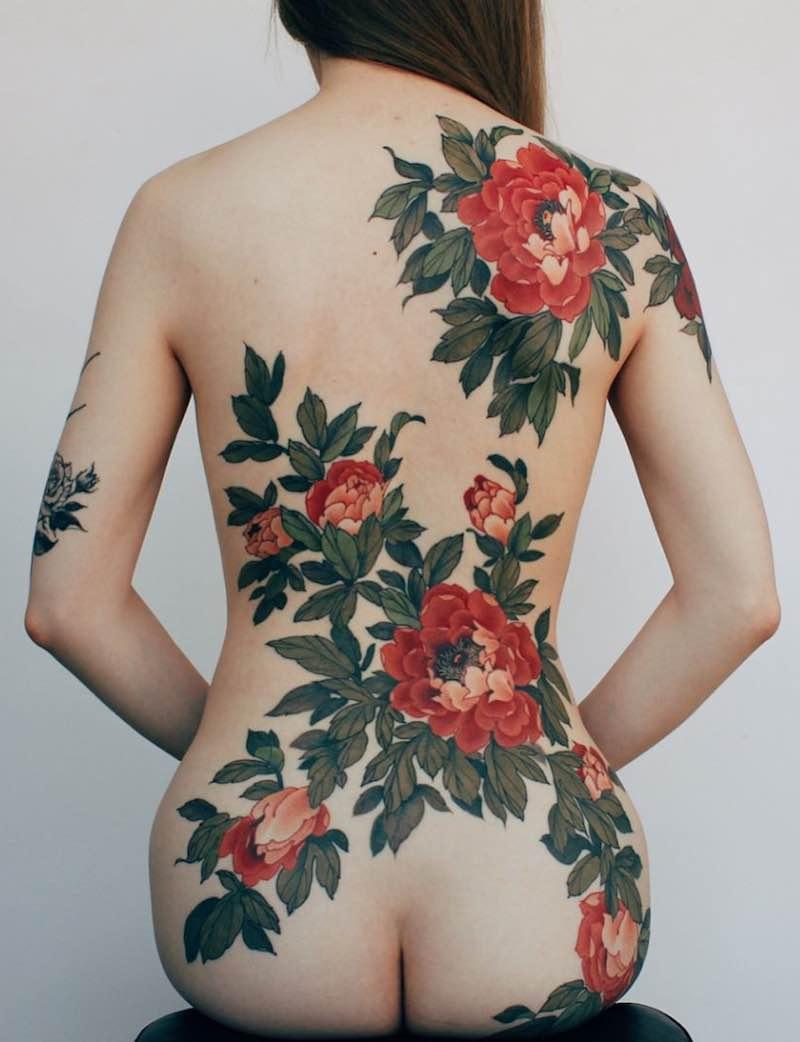 Back Peony Tattoo by Jinpil Yuu