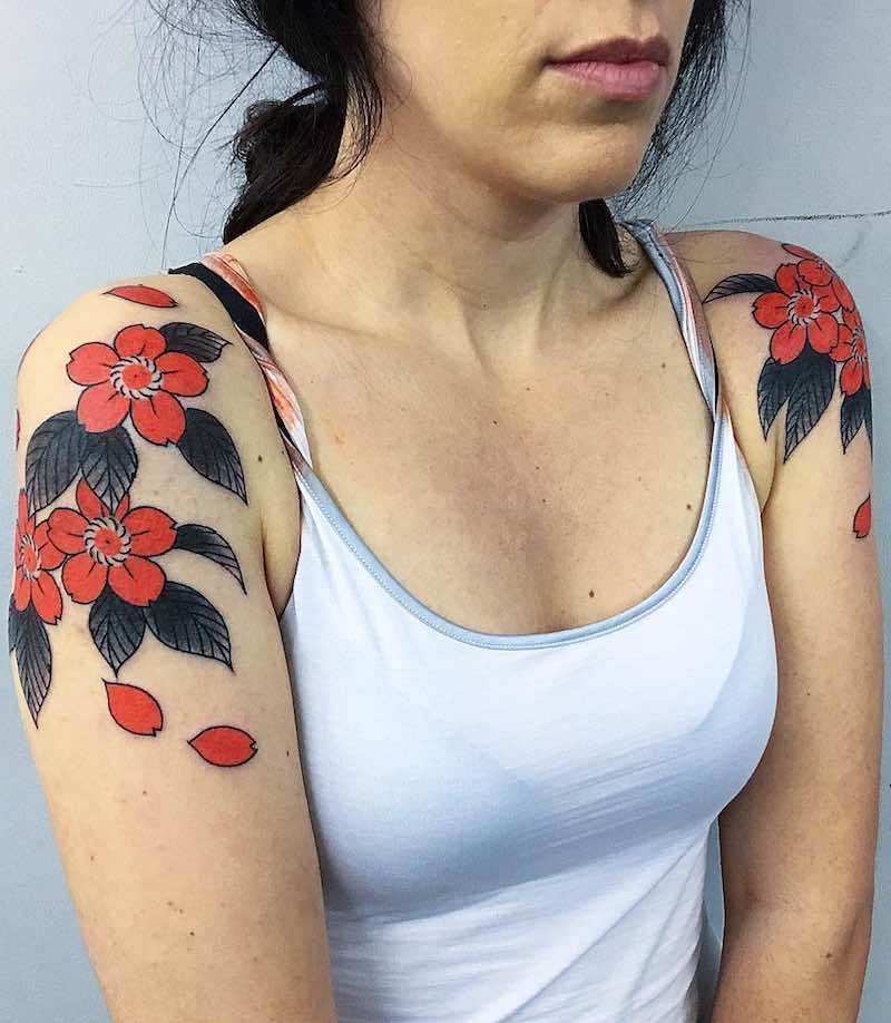 Cherry Blossom Tattoo by Caio Pineiro