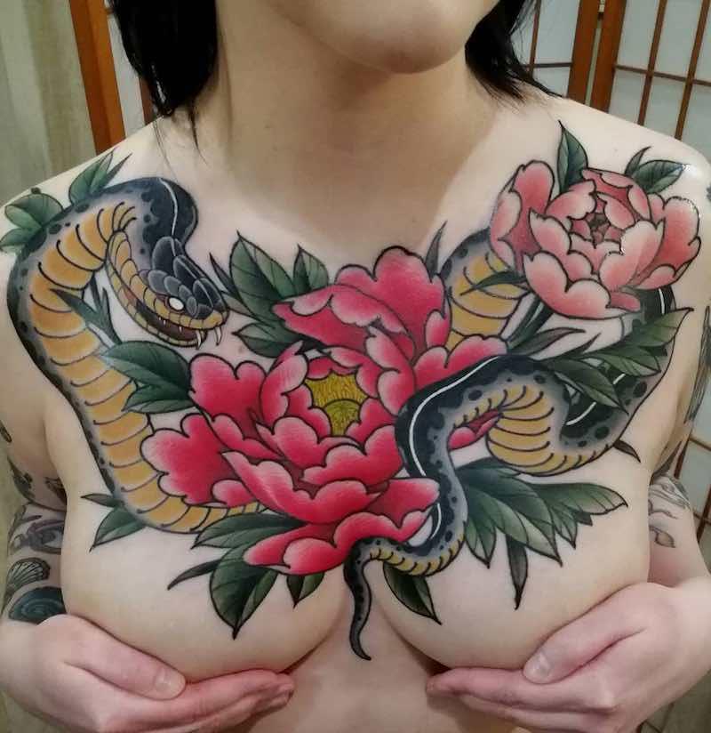 Chest Piece Tattoo by Gustav Froberg