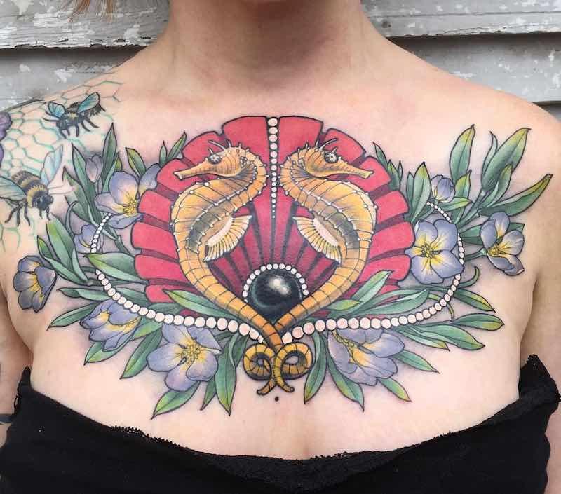 Chest Piece Tattoo by Samantha Smith