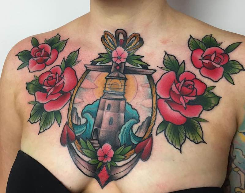 Chest Piece Tattoo by Tilly Dee