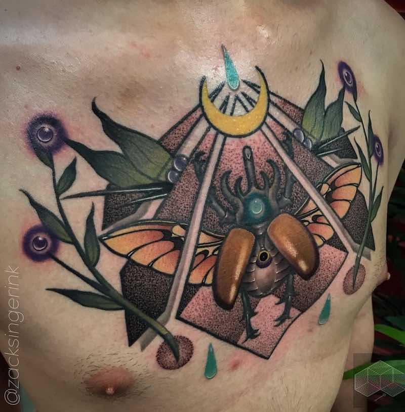Chest Piece Tattoo by Zack Singer