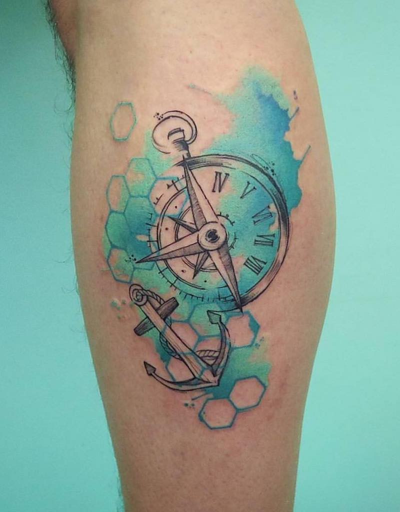 Compass and Anchor Tattoo by Sku Plux