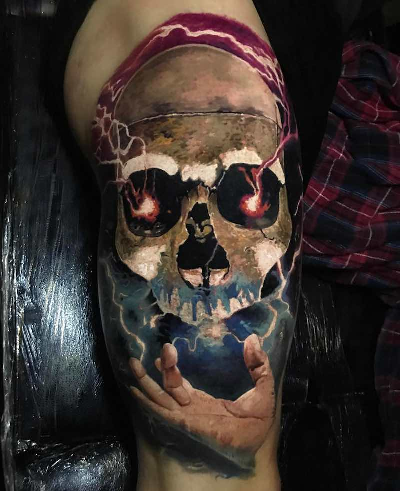 Electric Skull Tattoo by Jak Connolly