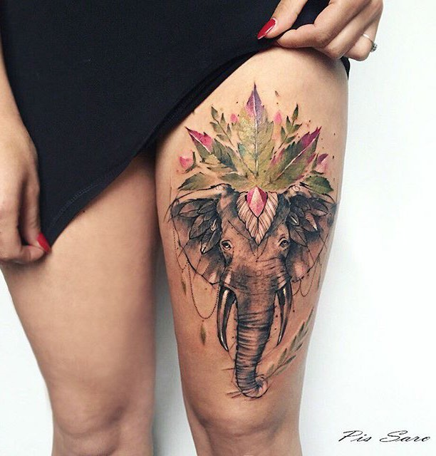 Elephant Tattoo by Pis Saro