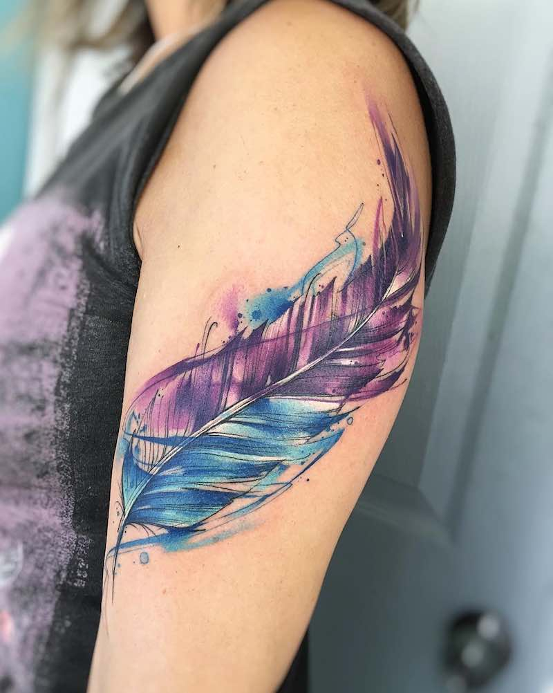 Feather Tattoo by Adrian Bascur