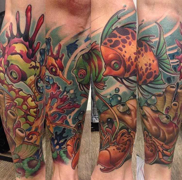 Fish and Seahorse tattoo by Jamie Ris