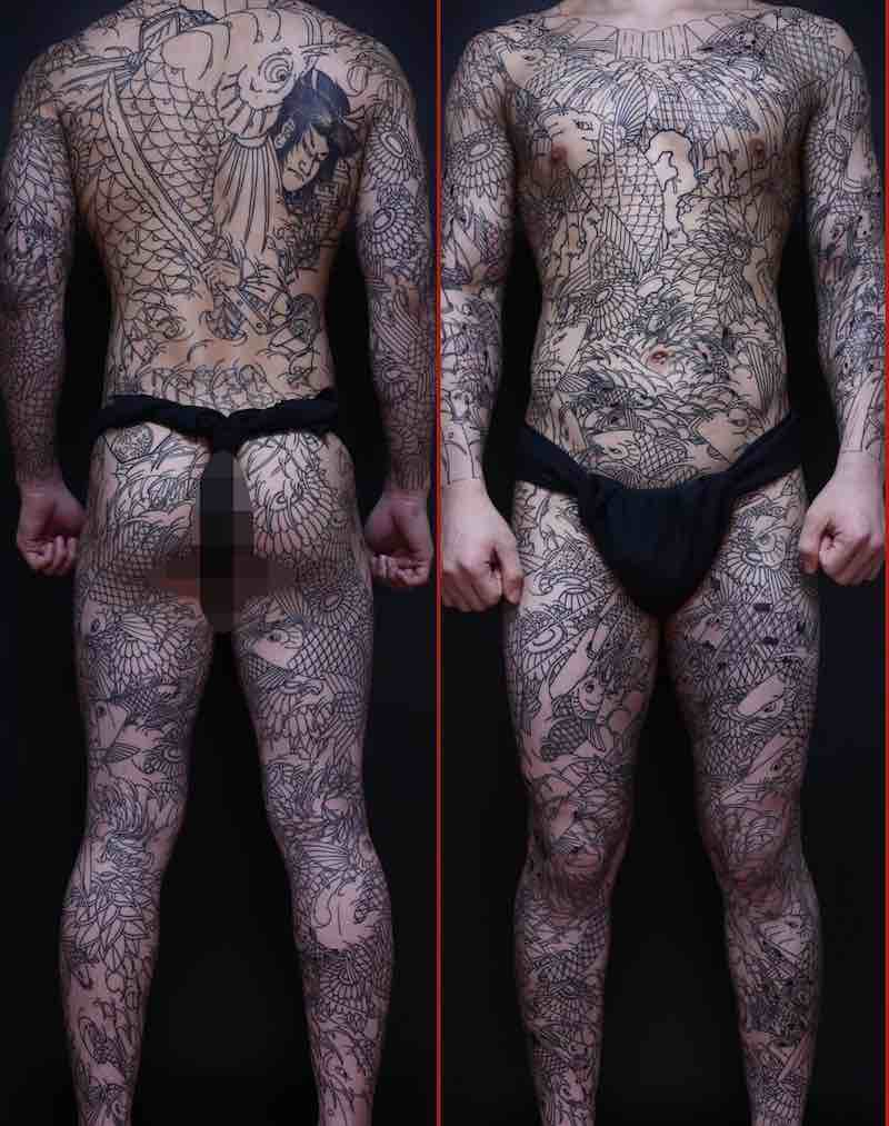 Full Body Suit Koi Tattoo by Uigu Lee