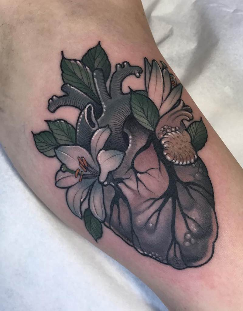 Heart Lily Tattoo by Jean Le Roux