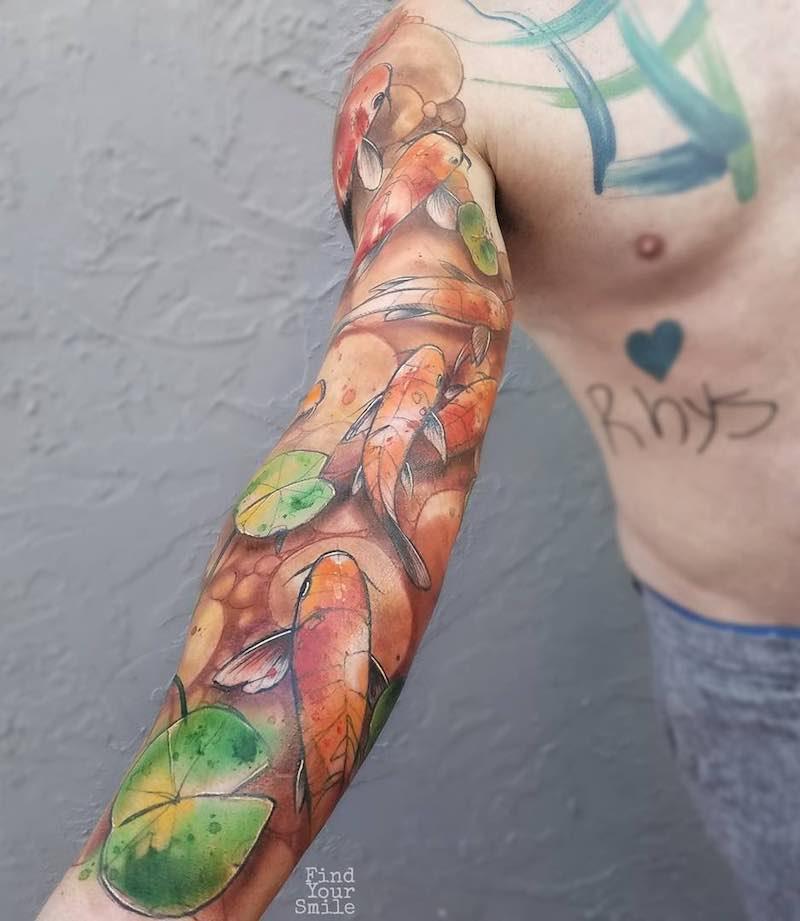 Koi Tattoo Sleeve Russell Van Schaick