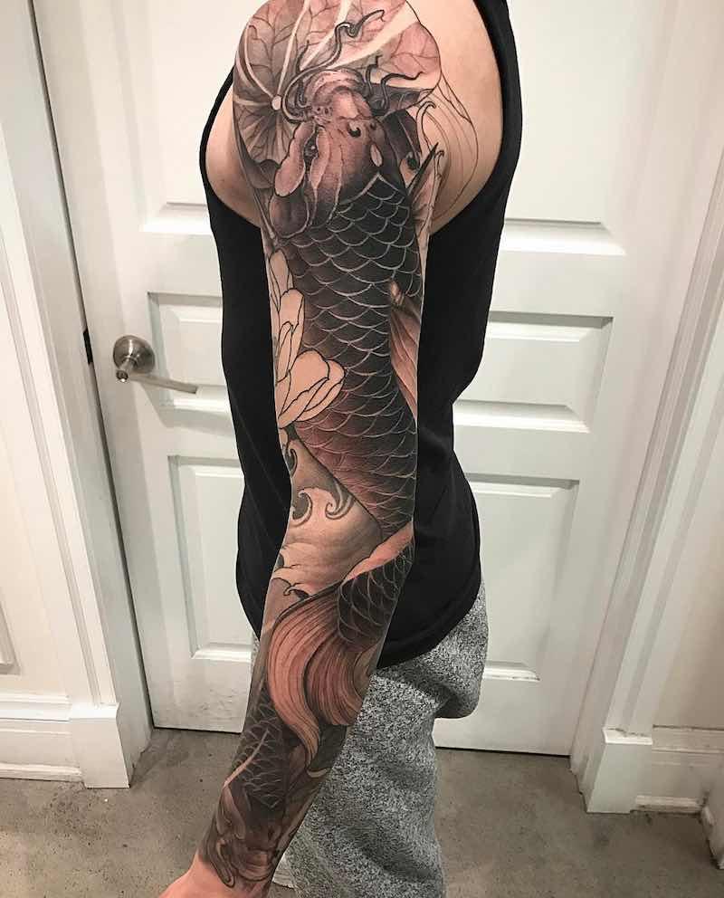 Koi Tattoo Sleeve by Danny Chronicink