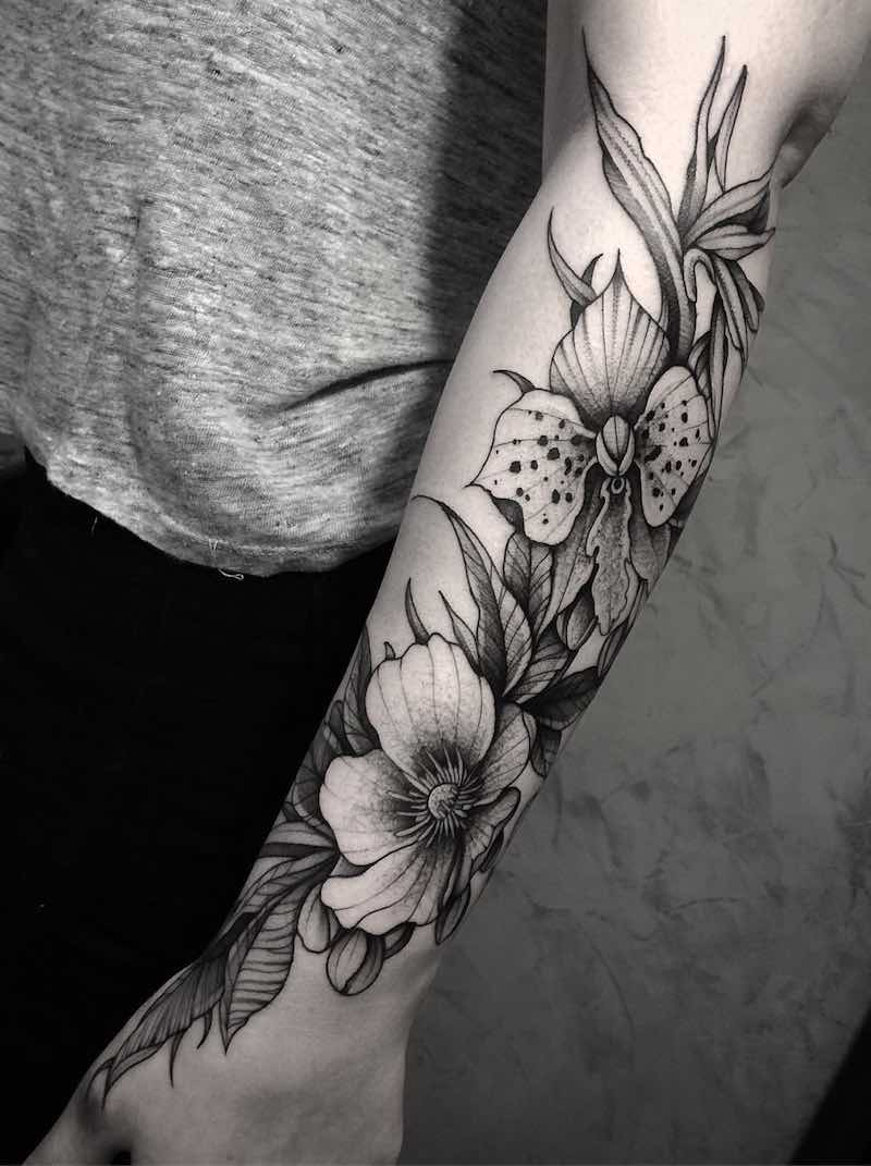 Orchid Tattoo by Bruna Andrade