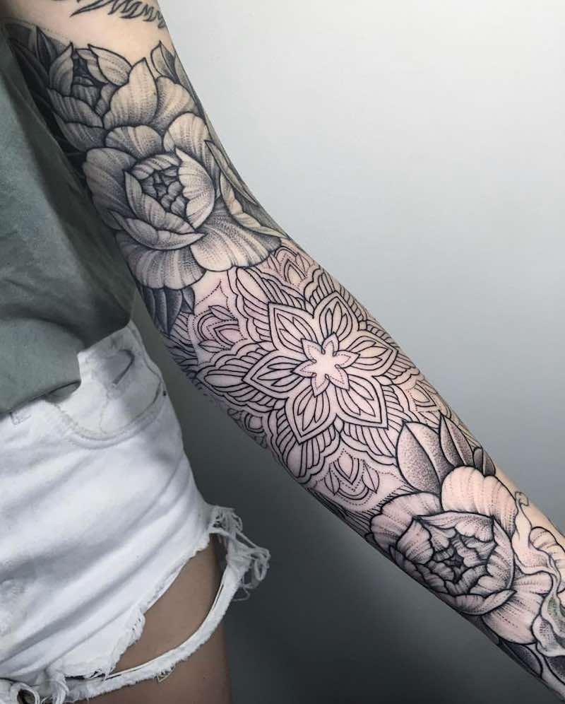 Peony Tattoo Sleeve by Sasha Masiuk