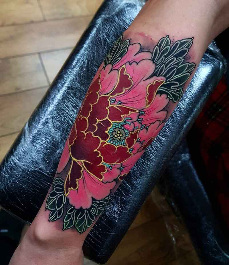 Peony Tattoo by Elliott Wells