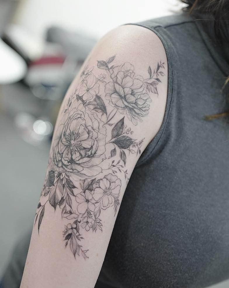 Peony Tattoo by Hongdam
