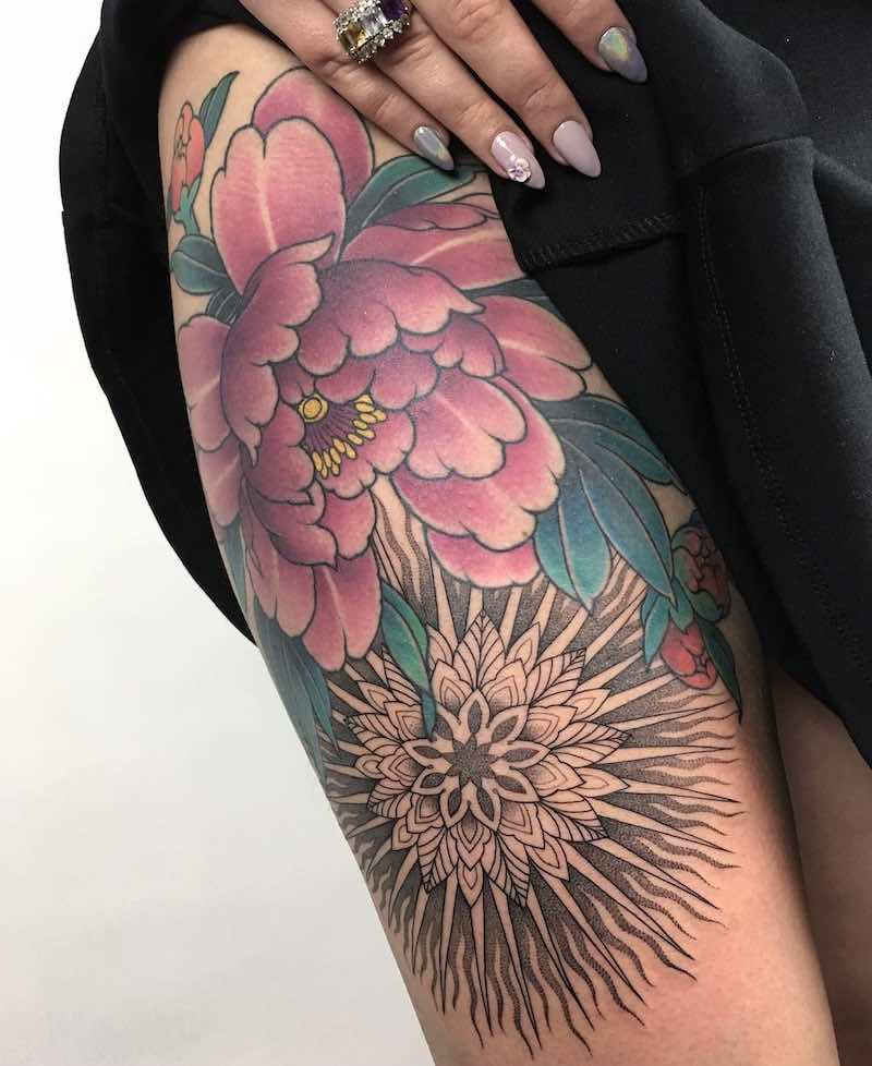 Peony Tattoo by Rodrigo Souto