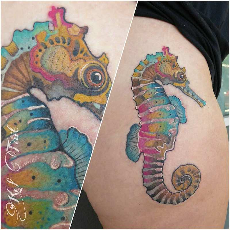 Seahorse Tattoo by Kel Tait
