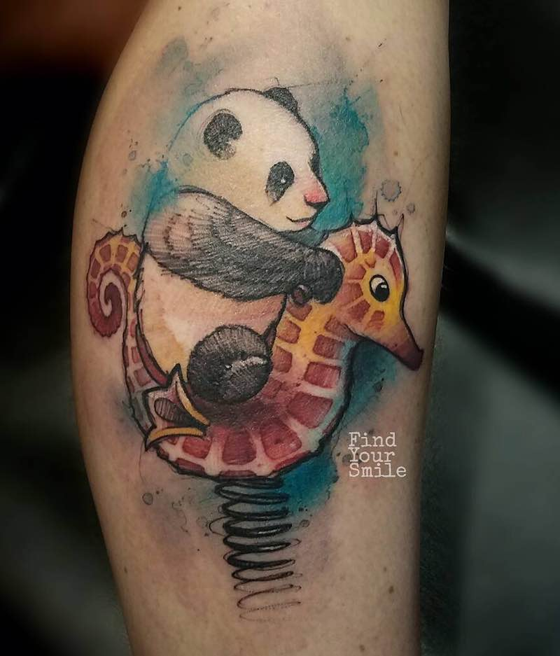 Panda and Seahorse Tattoo by Russell Van Schaick