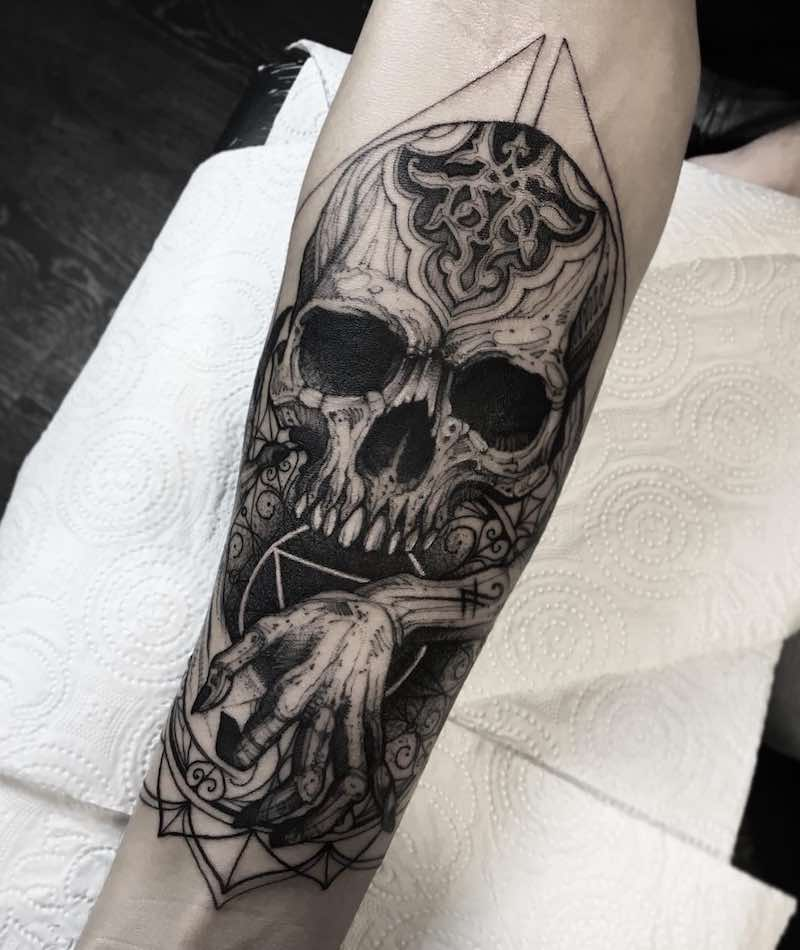 Skull Tattoo by Dmitriy Tkach