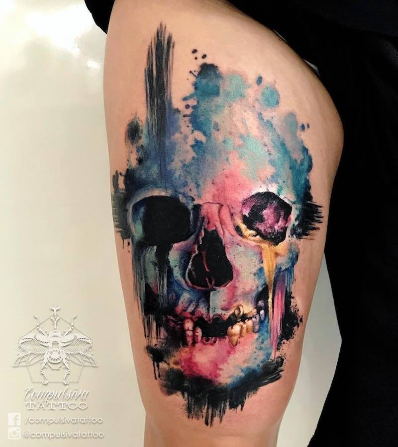Skull Tattoo by Mayara Compulsiva