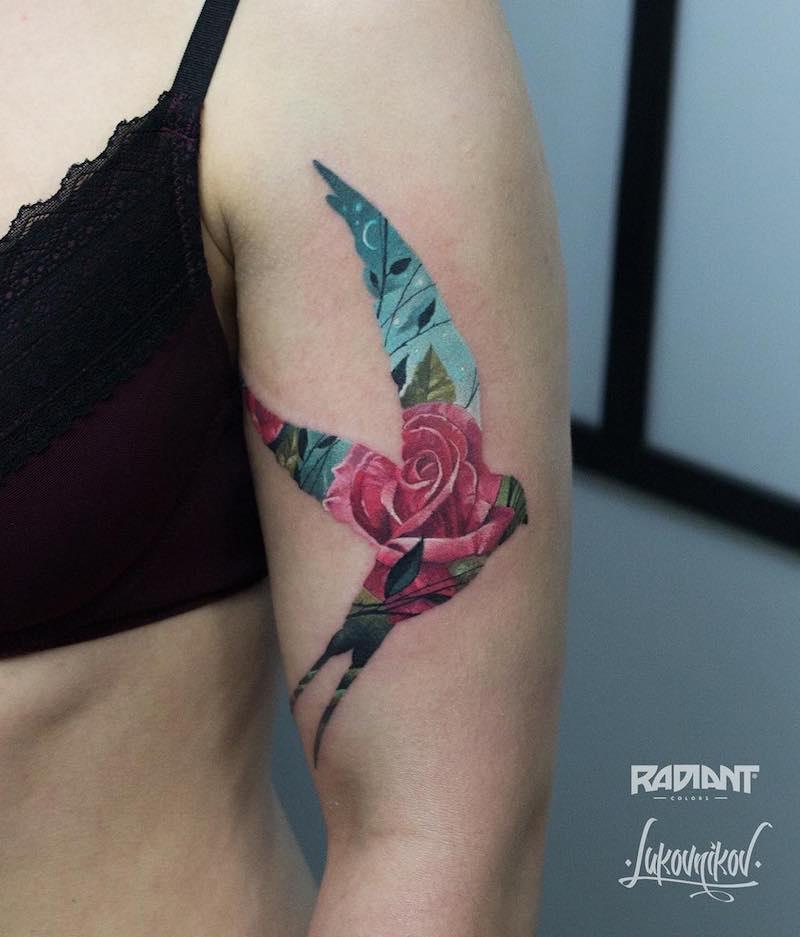Swallow Tattoo by Andrey Lukovnikov-