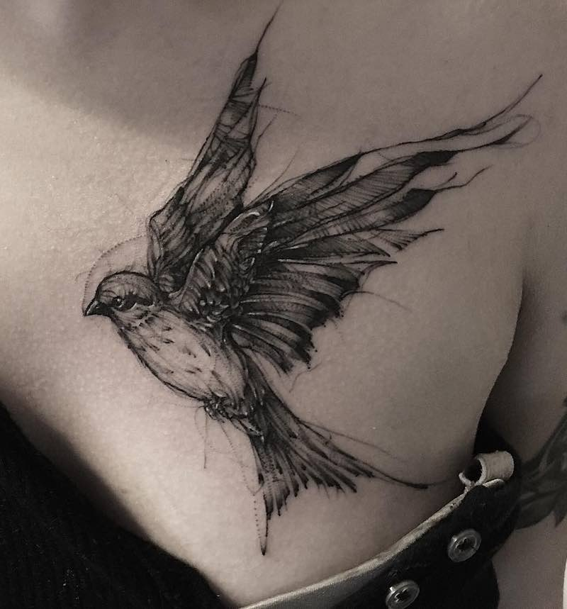 Swallow Tattoo by Bk Tattooer