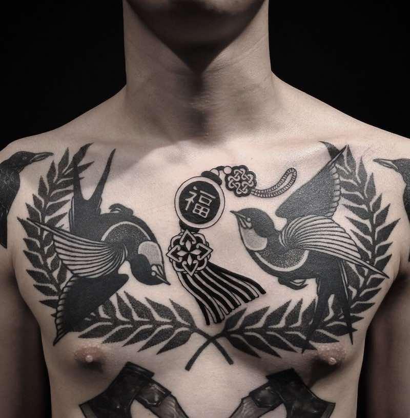 Swallow Tattoo by Cuba Tattooer
