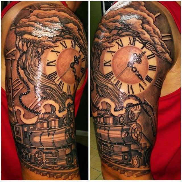 Train Clock and Tree Tattoo by Tazz