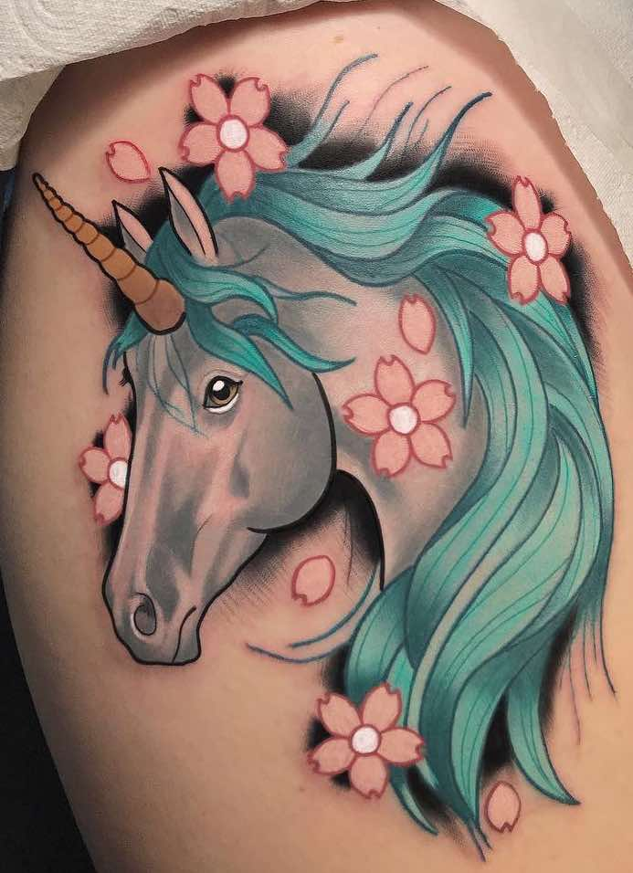 Unicorn and Cherry Blossom Tattoo by Chris Stockings