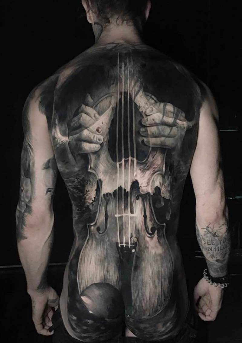 Violin Skull Tattoo by Jak Connolly