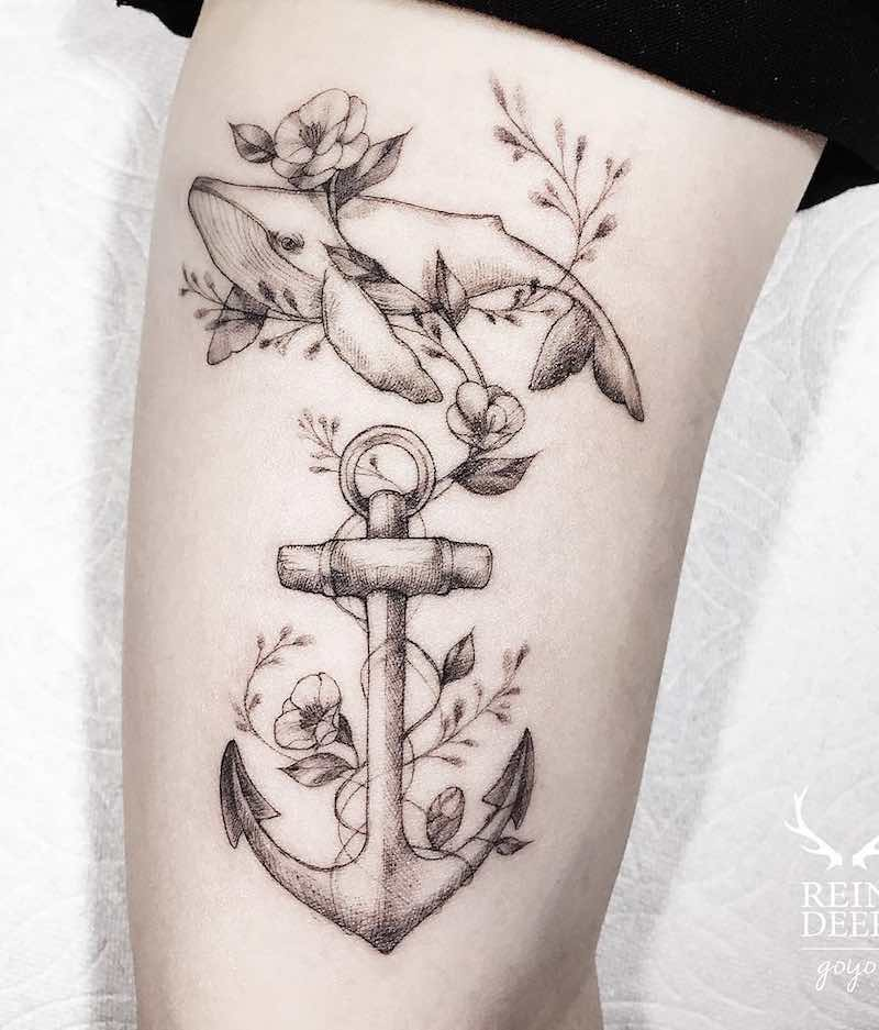 Whale and Anchor Tattoo by Goyo