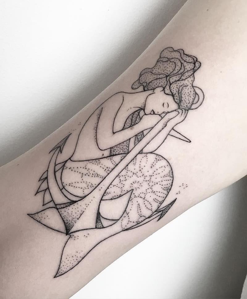 Mermaid and Anchor Tattoo by María Fernández